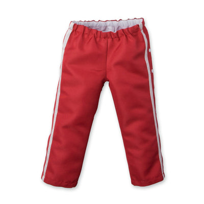 Strong and Free red warm-up pants fit all 18 inch dolls.