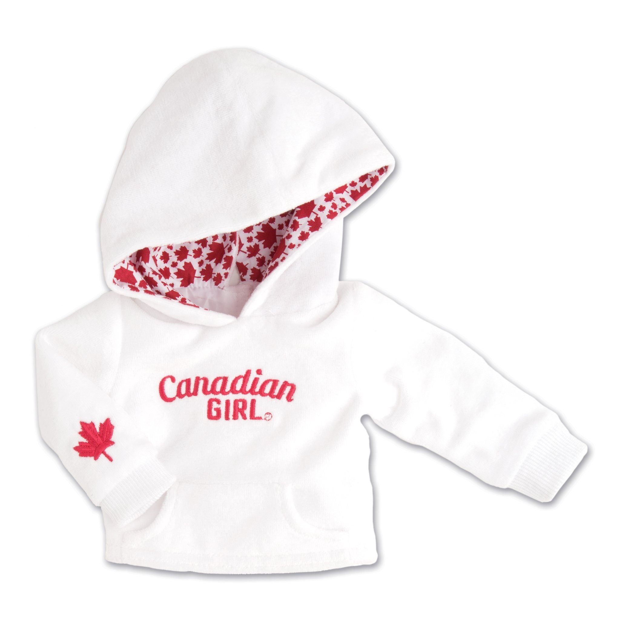 Strong and Free Canadian Girl white velour hoody fits all 18 inch dolls.
