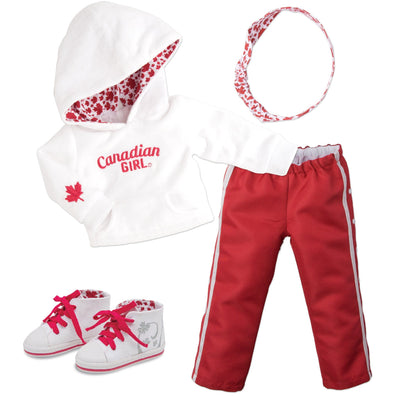 Strong and Free Canadian Girl white velour hoody, with red warm-up pants, white headband with maple leaf pattern, and white runners with red laces fits all 18 inch dolls.