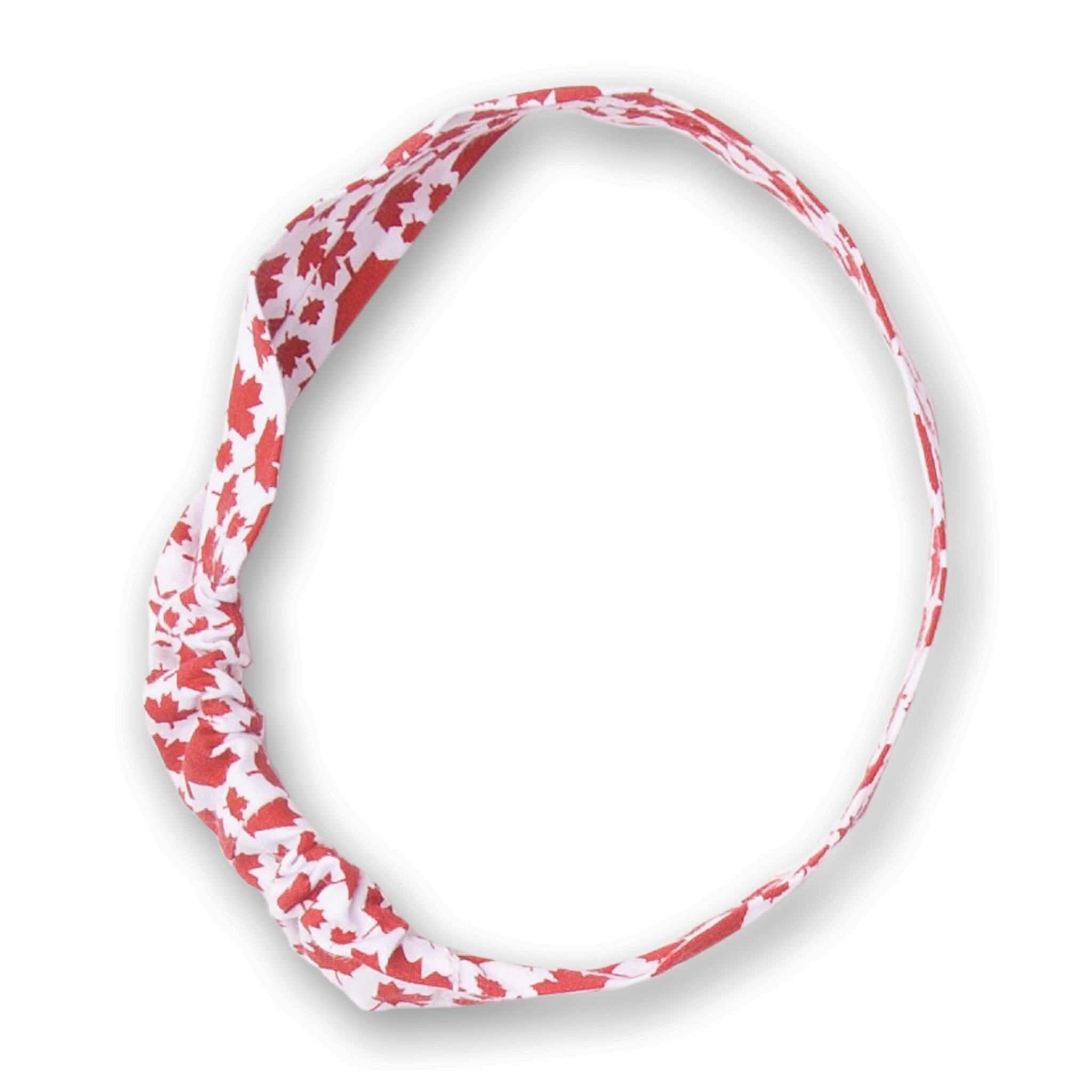 Strong and Free white headband with maple leaf pattern fits all 18 inch dolls.