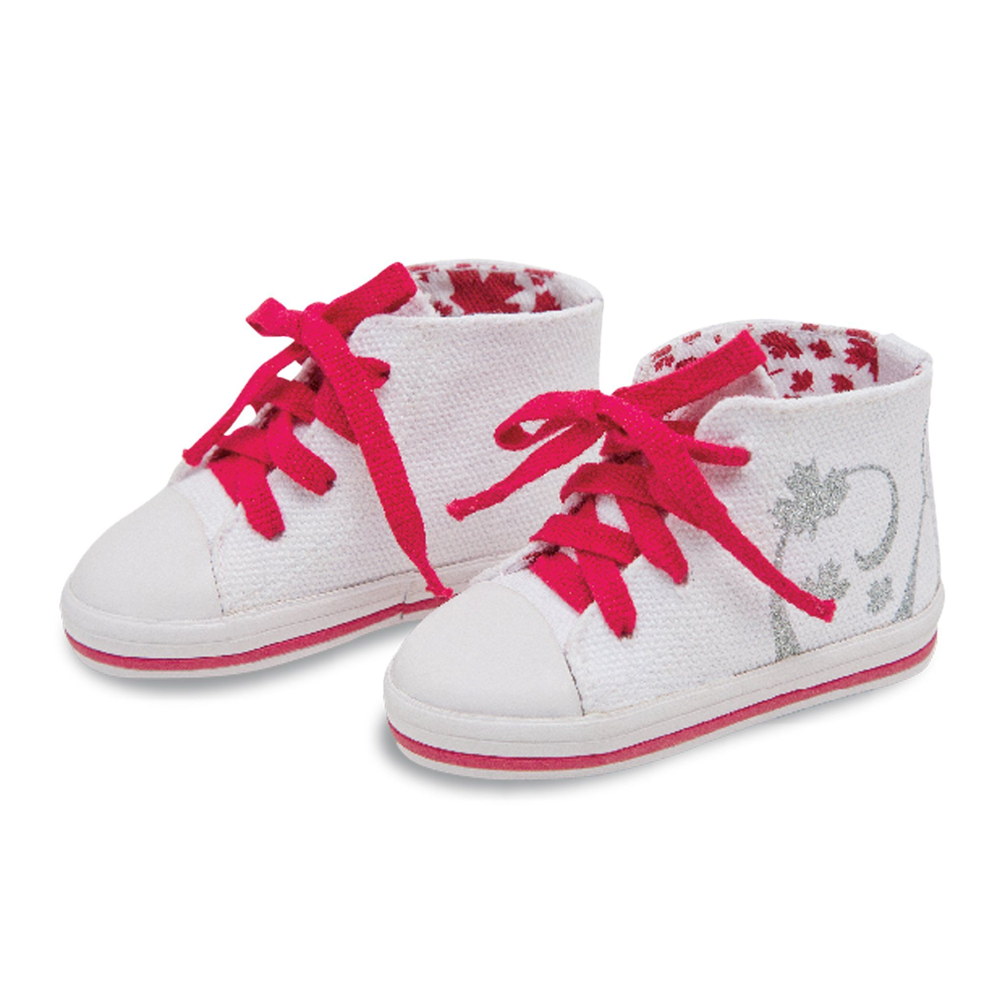 Strong and Free white runners with red laces fits all 18 inch dolls.