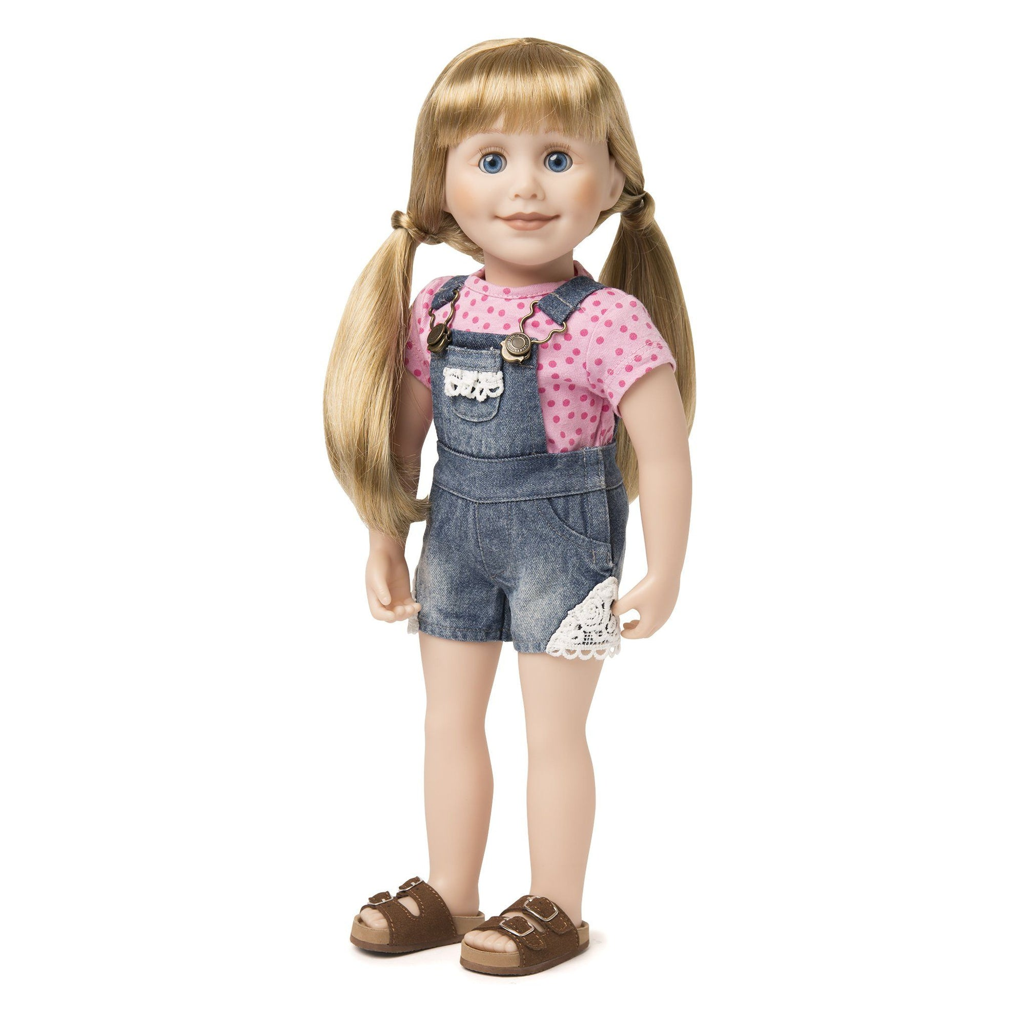 Summer denim overall shorts with lace trim and pink polka dot t-shirt fits all 18 inch dolls