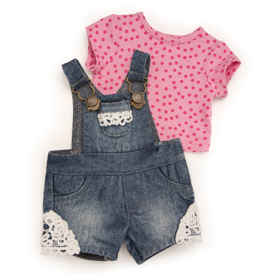 Short denim overals with lace insert and pink polka dot tee for 18 inch dolls.