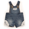 Summer denim overall shorts with lace trim fits all 18 inch dolls