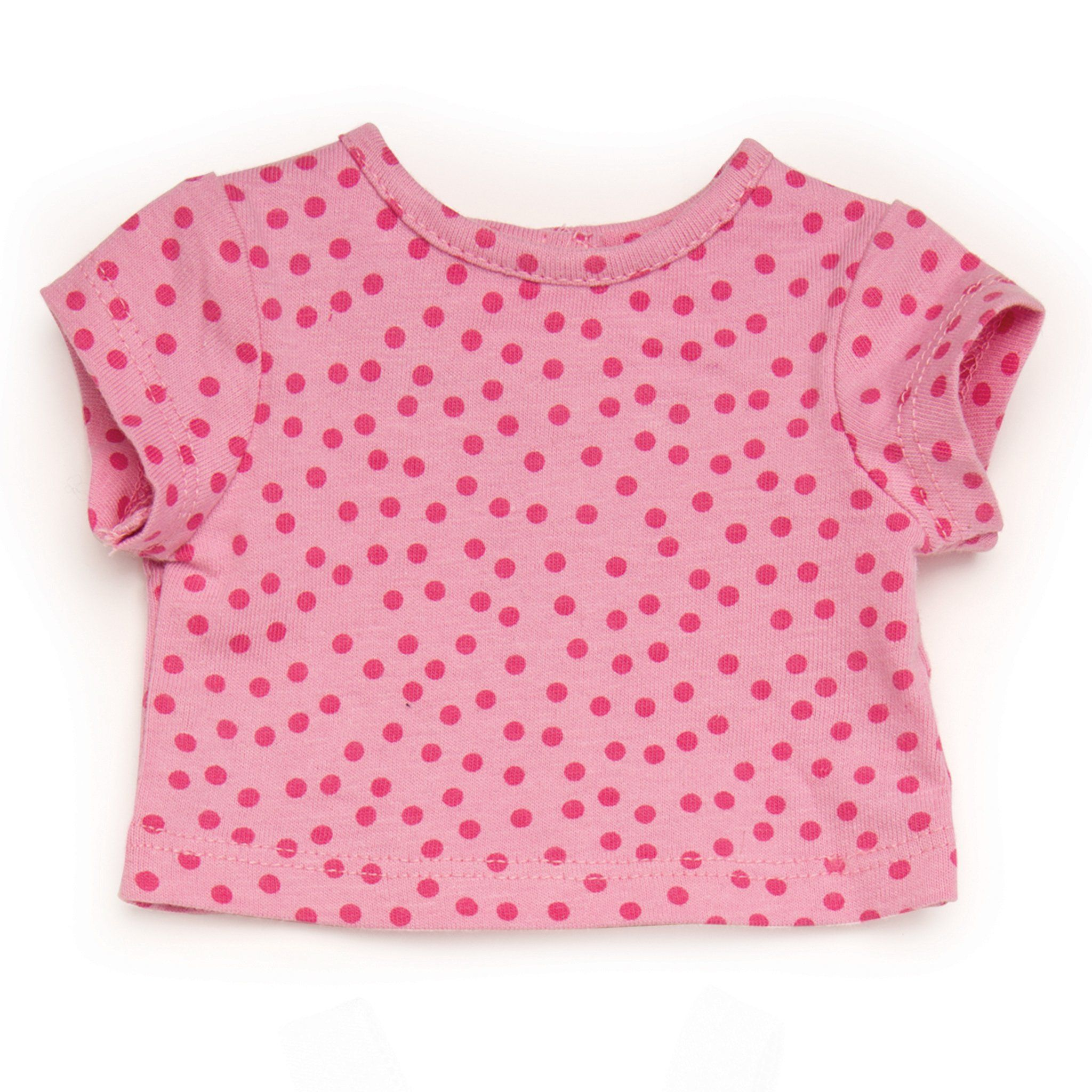 Pink polka dot t-shirt fits all 18 inch dolls
