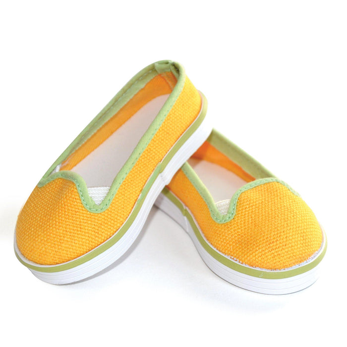 Sunshine Shoes bright yellow slip-on runners with green trim fit all 18 inch dolls.