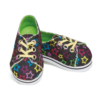 Superstar Sneakers black canvas sneakers with multi-coloured stars and yellow laces fit all 18 inch dolls.
