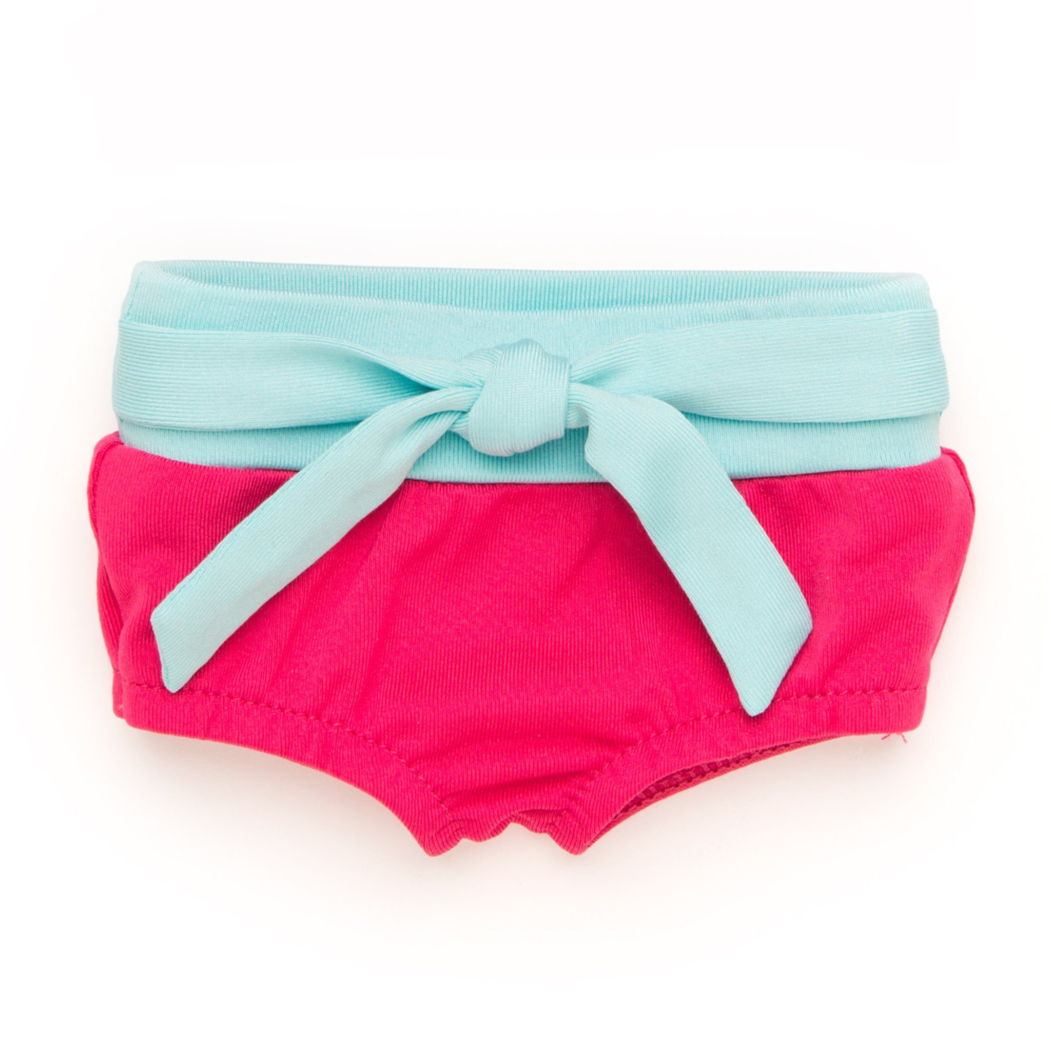 Surf's Up 2-piece bright fuchsia and light teal bathing suit bottoms with tie fits all 18 inch dolls.