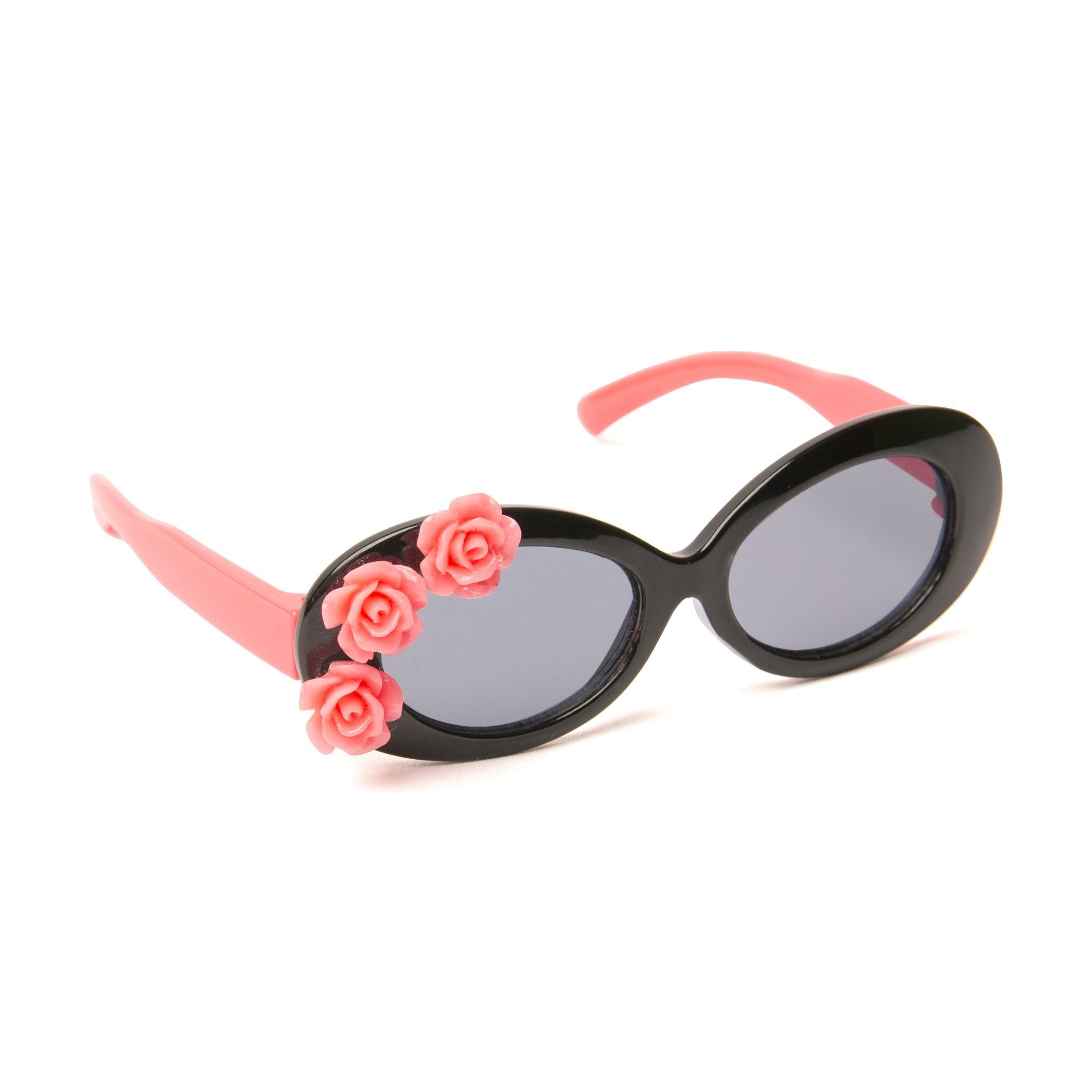 Surf's Up pink and black sunglasses with flower appliqué. Fits all 18 inch dolls.