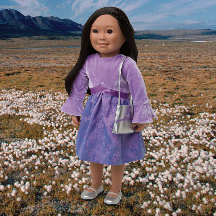 Sweet Saxifrage purple two-toned taffeta dress with velvet top, silver ballet flats with strap, and silver party purse with purple accents fits all 18 inch dolls.