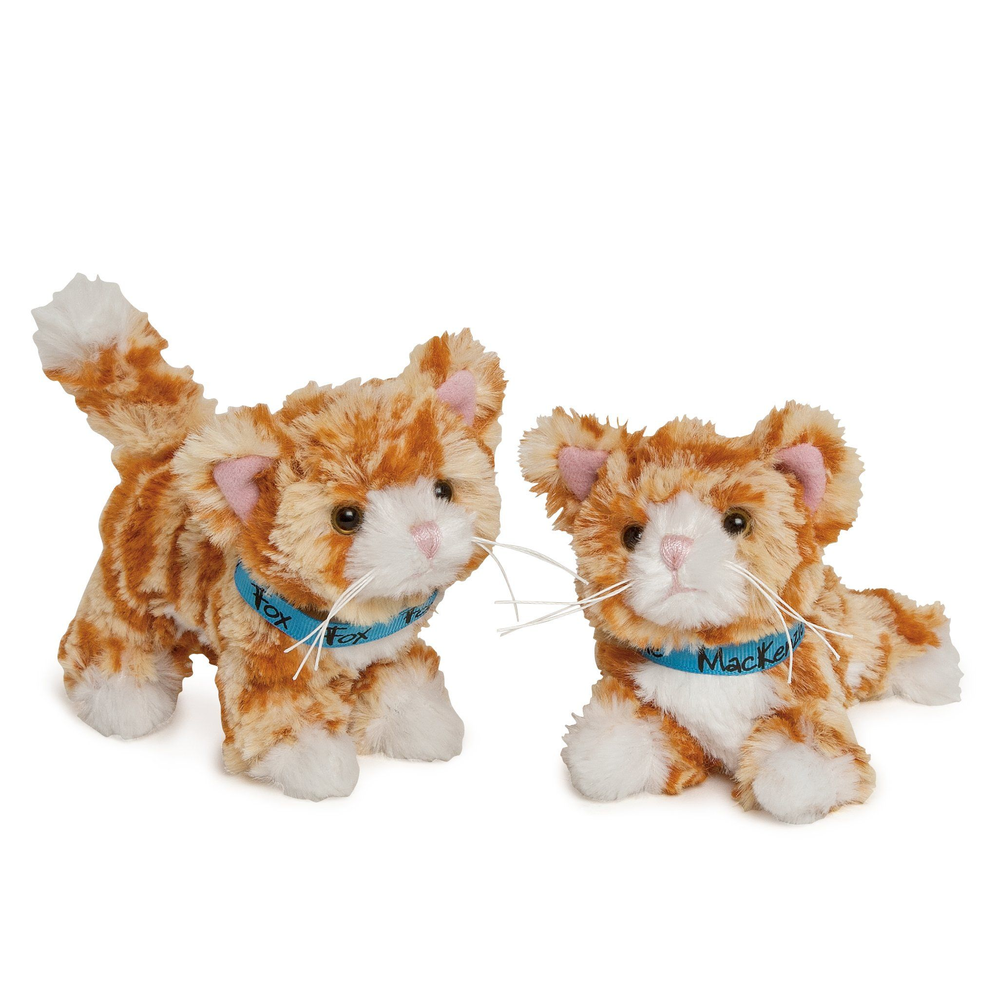 Two orange tabby cats Mackezie and Fox with blue collars for all 18 inch dolls.