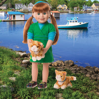 Two orange tabby cats Mackezie and Fox with blue collars shown with 18 inch doll.