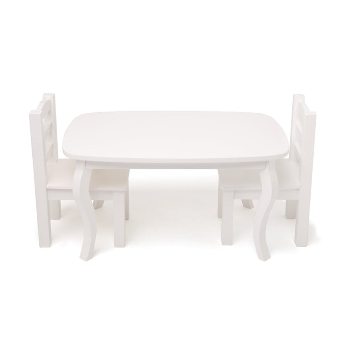 White wooden table and 2 chairs set for all 18 inch dolls.