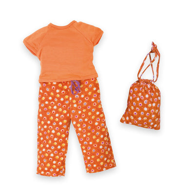 Tangerine Dream Pyjama Set with patterned orange PJ pants, orange t-shirt with carry bag fits all 18 inch dolls.
