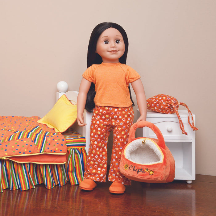 Tangerine Dream Pyjama Set with patterned orange PJ pants, orange t-shirt, orange fuzzy slippers with carry bag fits all 18 inch dolls.
