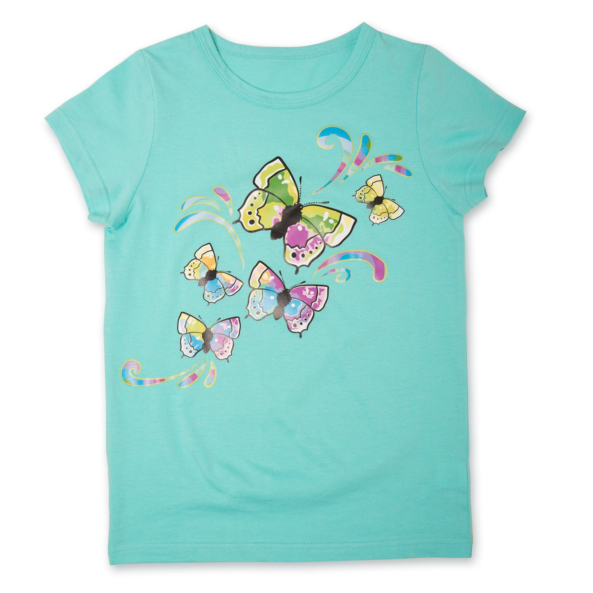 Taryn Starter Shirt for Girls mint green t-shirt with multi-colour butterfly graphic for girls.