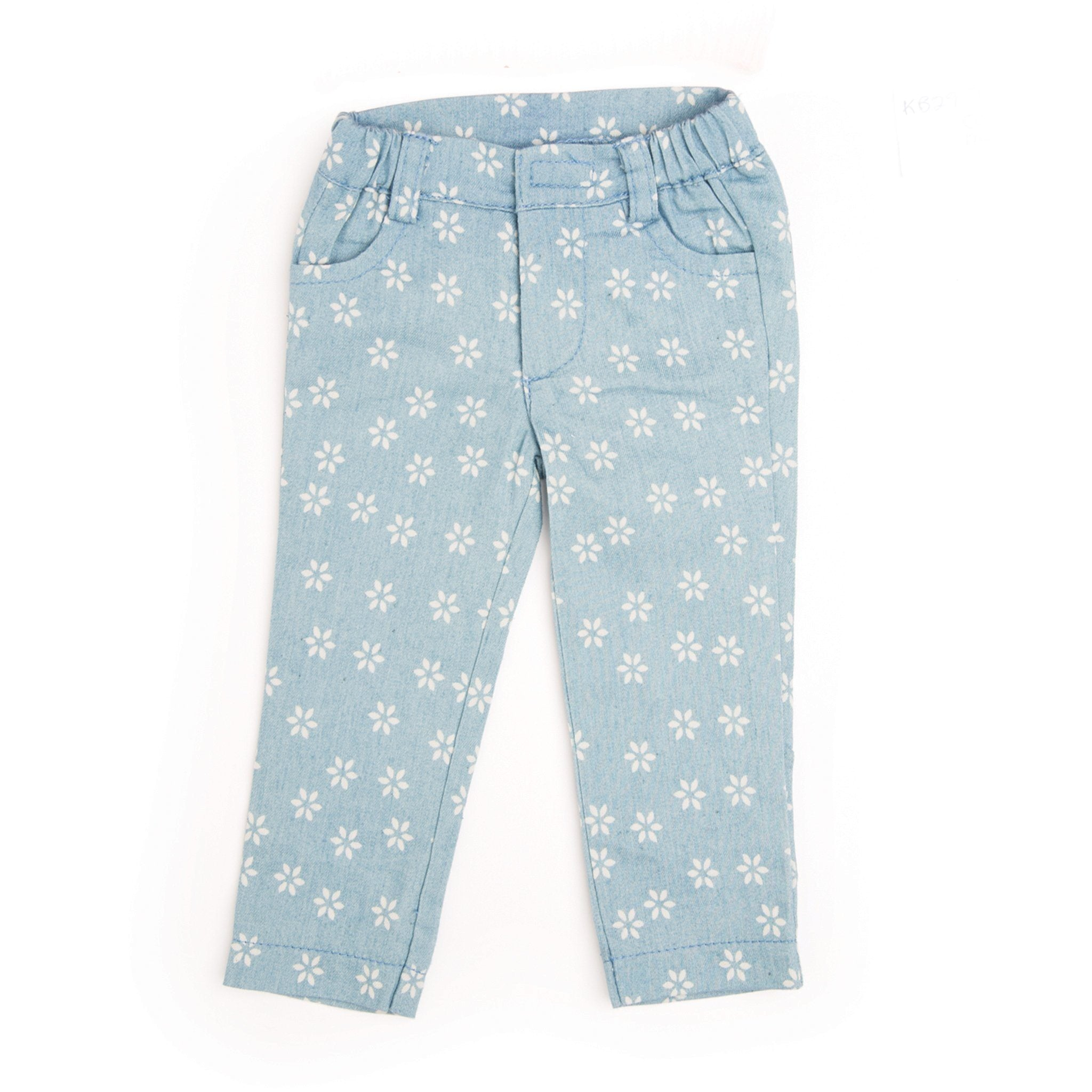 The Cat's Meow light blue jeans with printed flower pattern fits all 18 inch dolls.