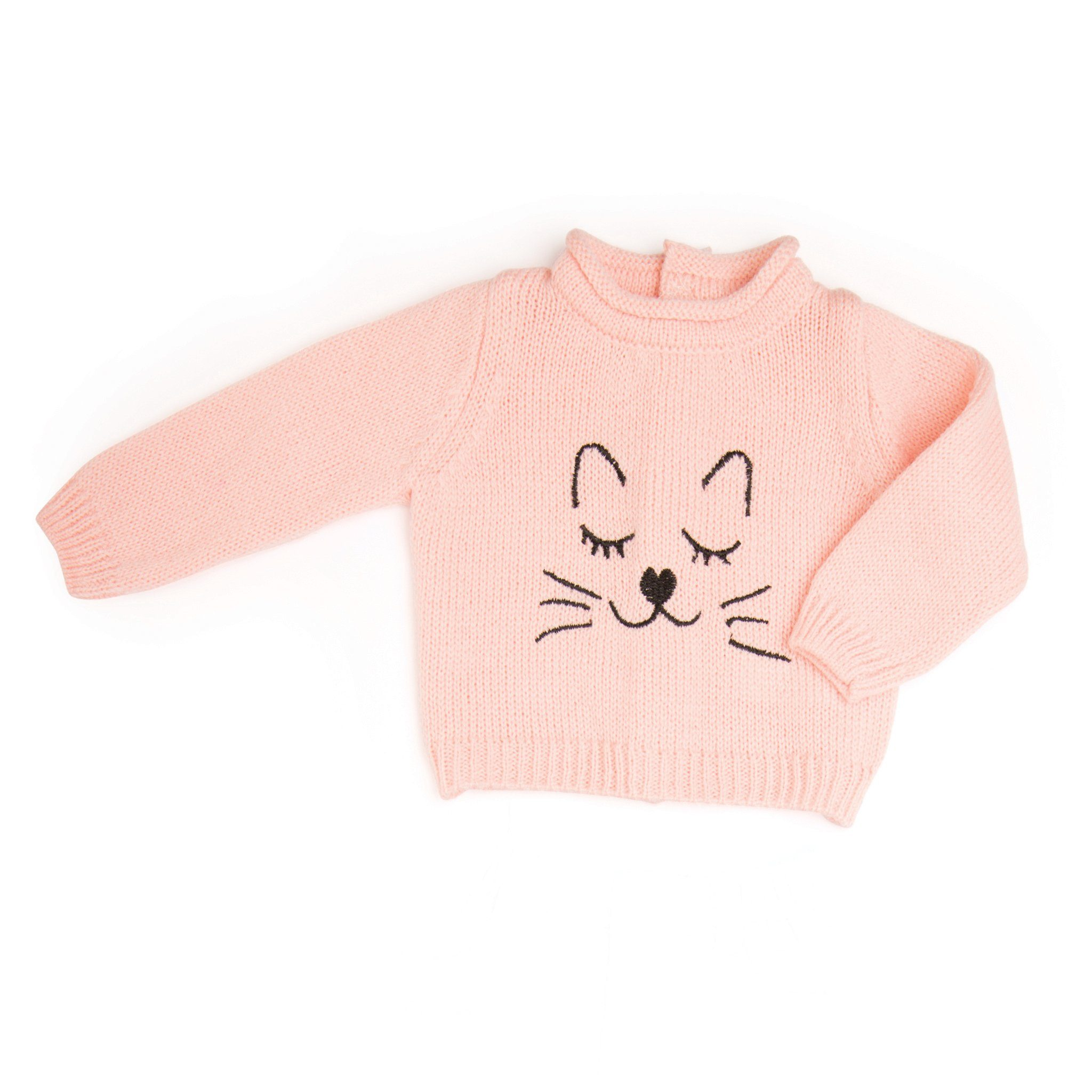 The Cat's Meow pink sweater with embroidered cat face fits all 18 inch dolls.