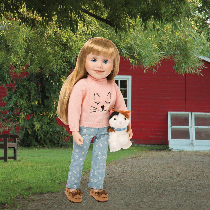The Cat's Meow pink sweater with embroidered cat face, white flower printed patterned light blue jeans fits all 18 inch dolls.