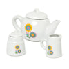 Time for Tea white ceramic tea pot, creamer and sugar bowl with bright flower graphics adorning all items.
