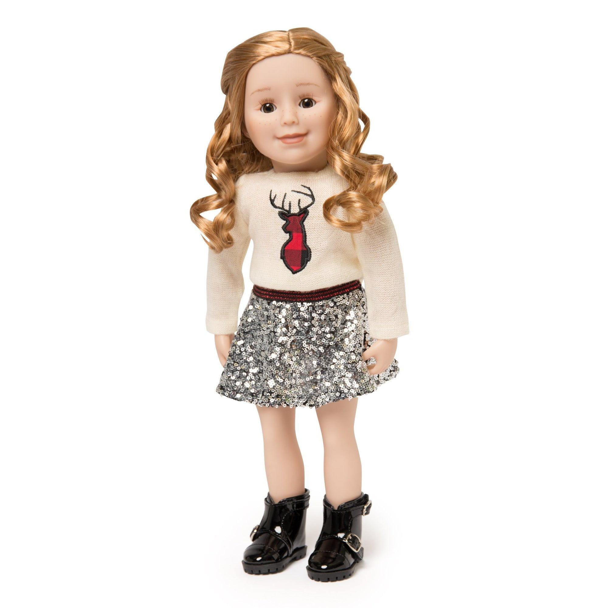 "Knit sweater with deer silhouette, glittery sequined skirt and ankle boots.  Fits all 18"" dolls"