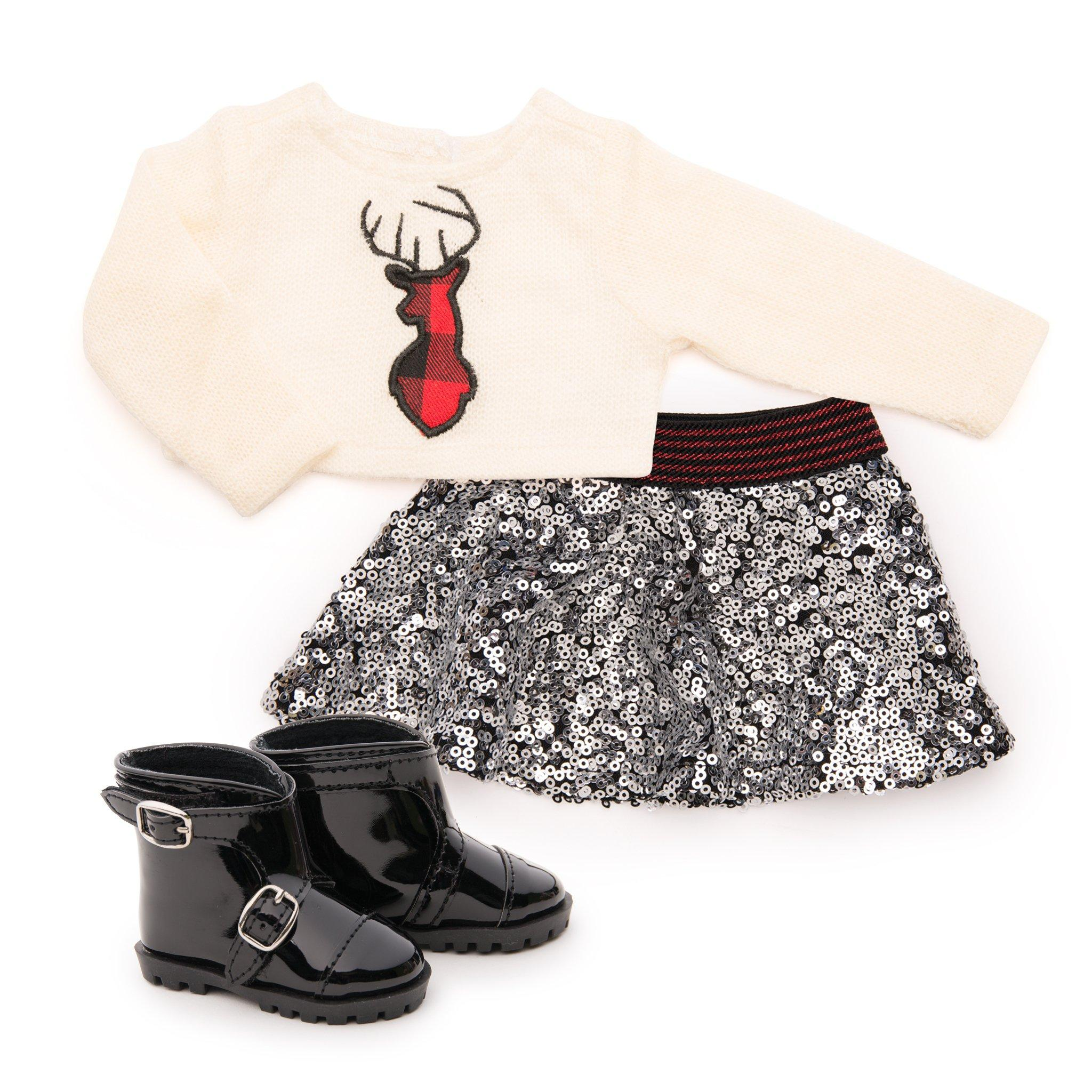 "Knit sweater with buffalo plaid deer silhouette, sequin skirt and boots fits 18"" dolls Maplelea.com"
