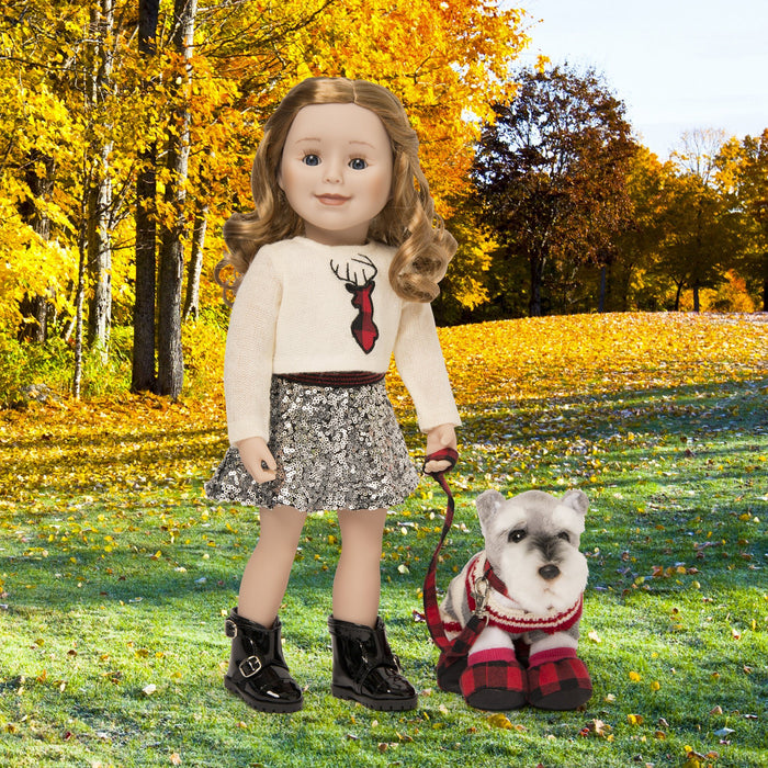 Town and Country white knit sweater with buffalo plaid deer silhouette, silver sequin skirt and black shiny ankle boots fits all 18 inch dolls.