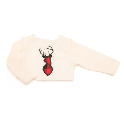 Town and Country white knit sweater with buffalo plaid deer silhouette fits all 18 inch dolls.