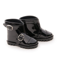 Town and Country black shiny ankle boots fits all 18 inch dolls.
