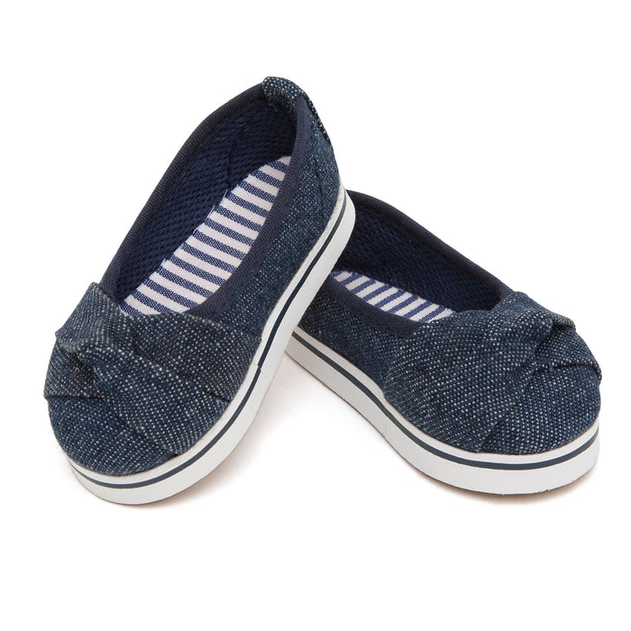 Trans Canada Trekkers dark blue denim slip-on shoes fit all 18 inch dolls.