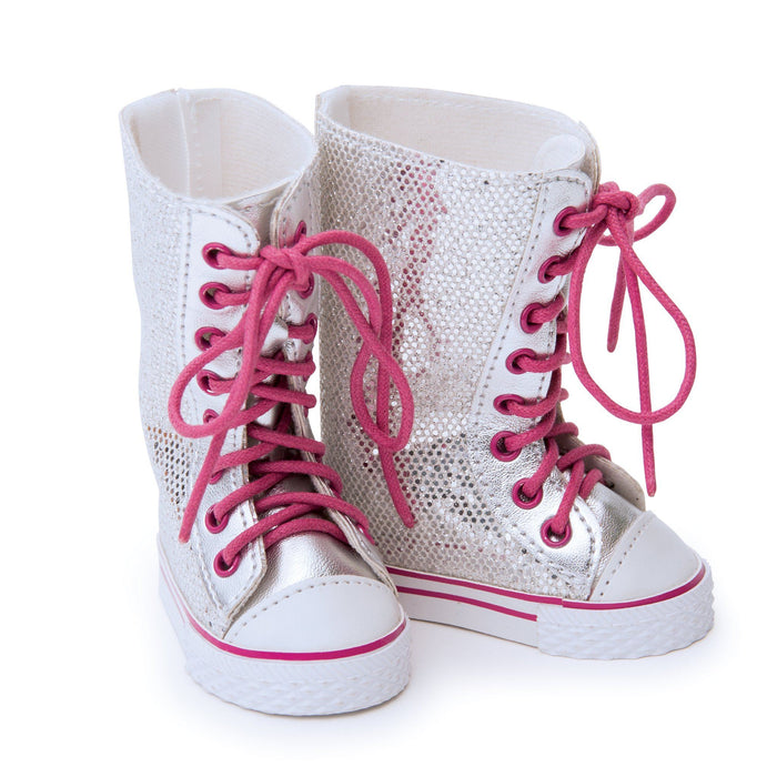 Tread Lightly tall silver sparkly lace-up boots with pink laces fit all 18 inch dolls.