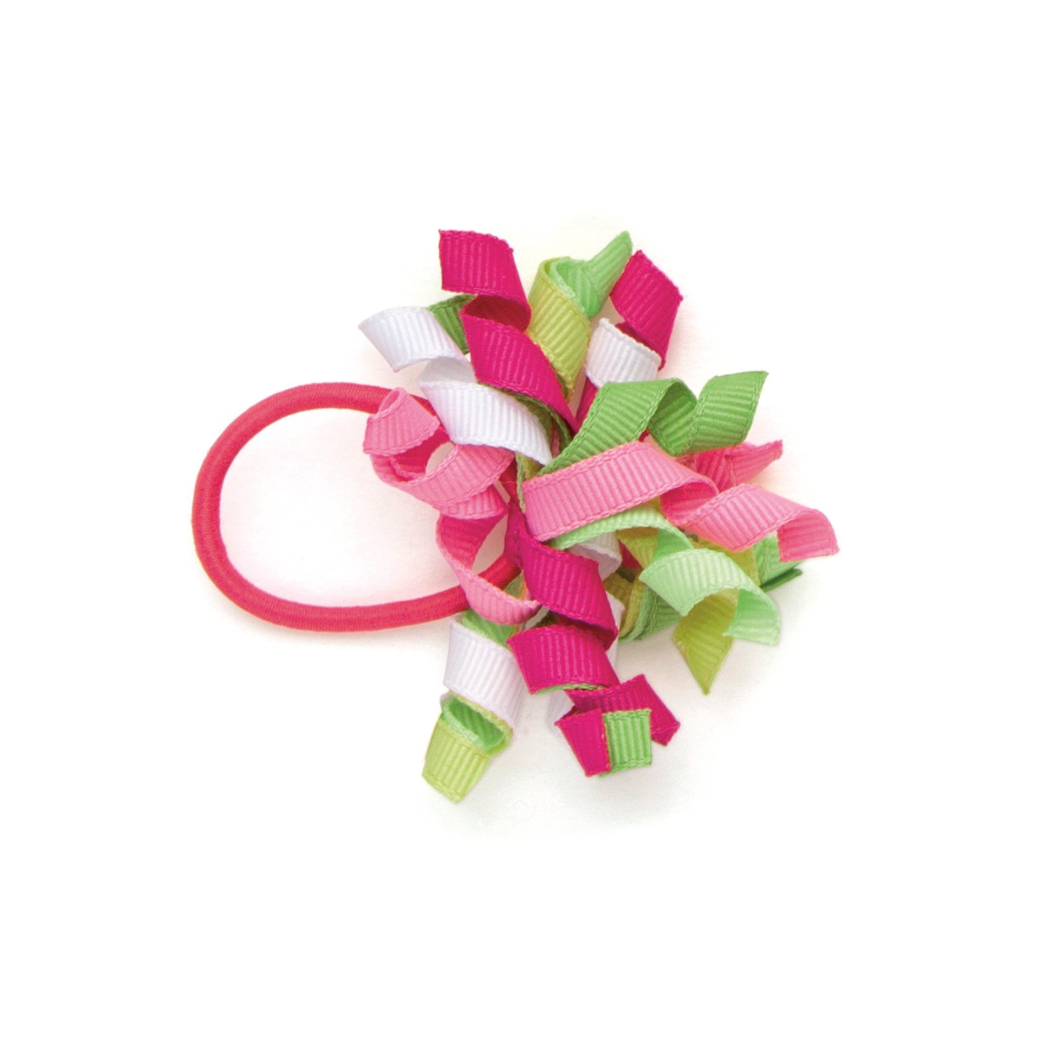 Tulip Royale pink green and white colourful curly hair elastic fits all 18 inch dolls.