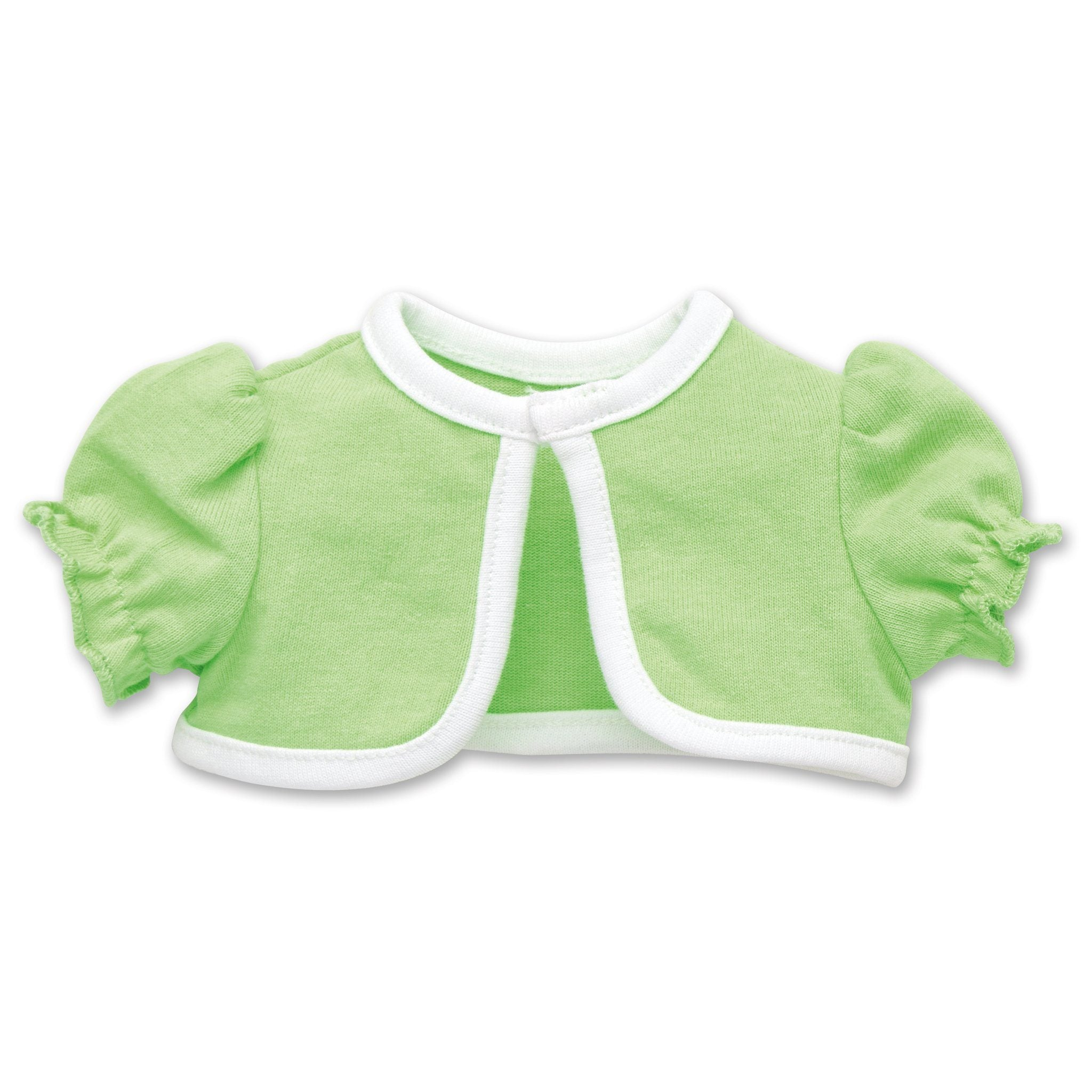 Tulip Royale light green bolero jacket with white trim fits all 18 inch dolls.