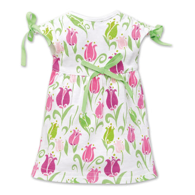 Tulip Royale white dress with pink tulip print fits all 18 inch dolls.