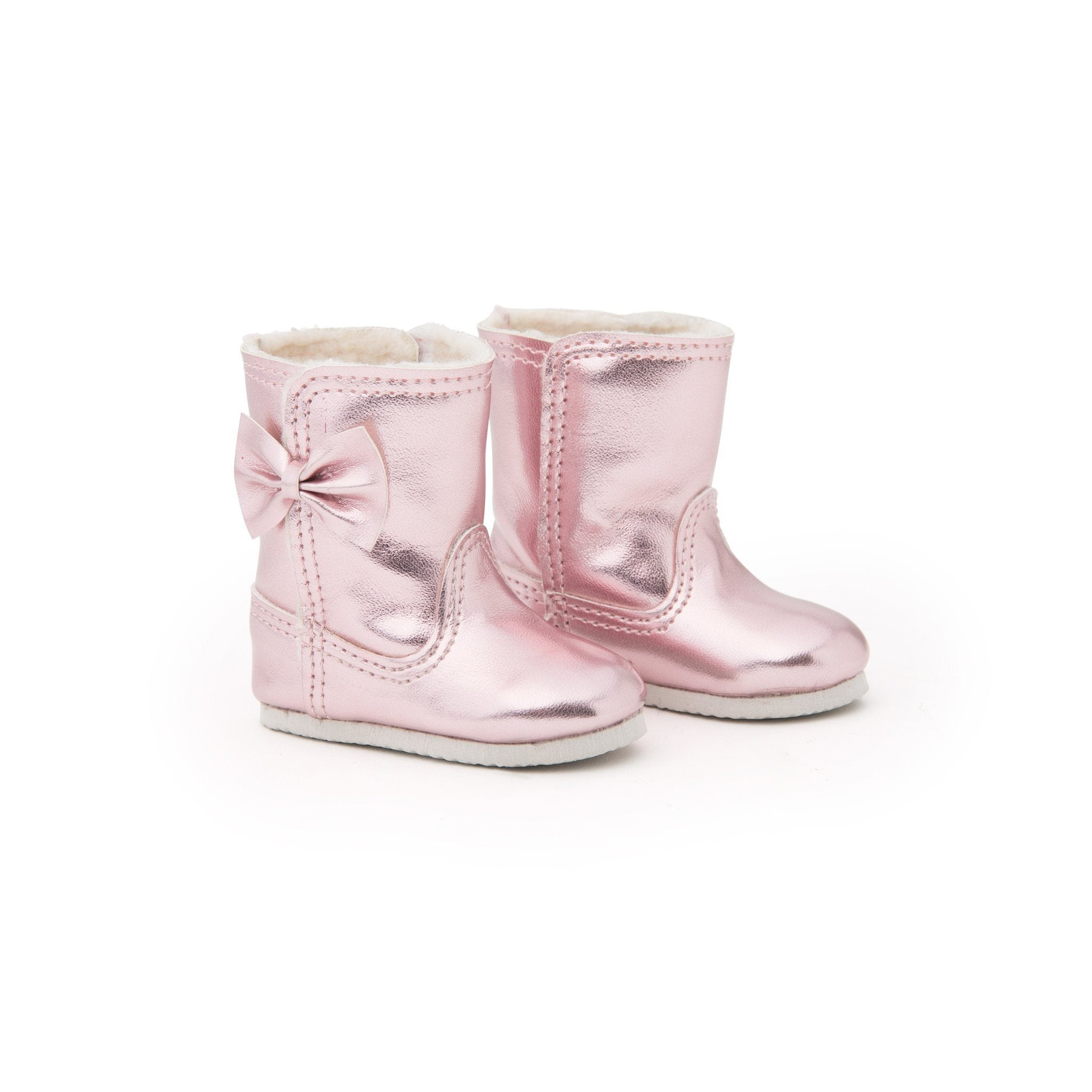 Shiny pink boots with bow fit all 18 inch dolls.