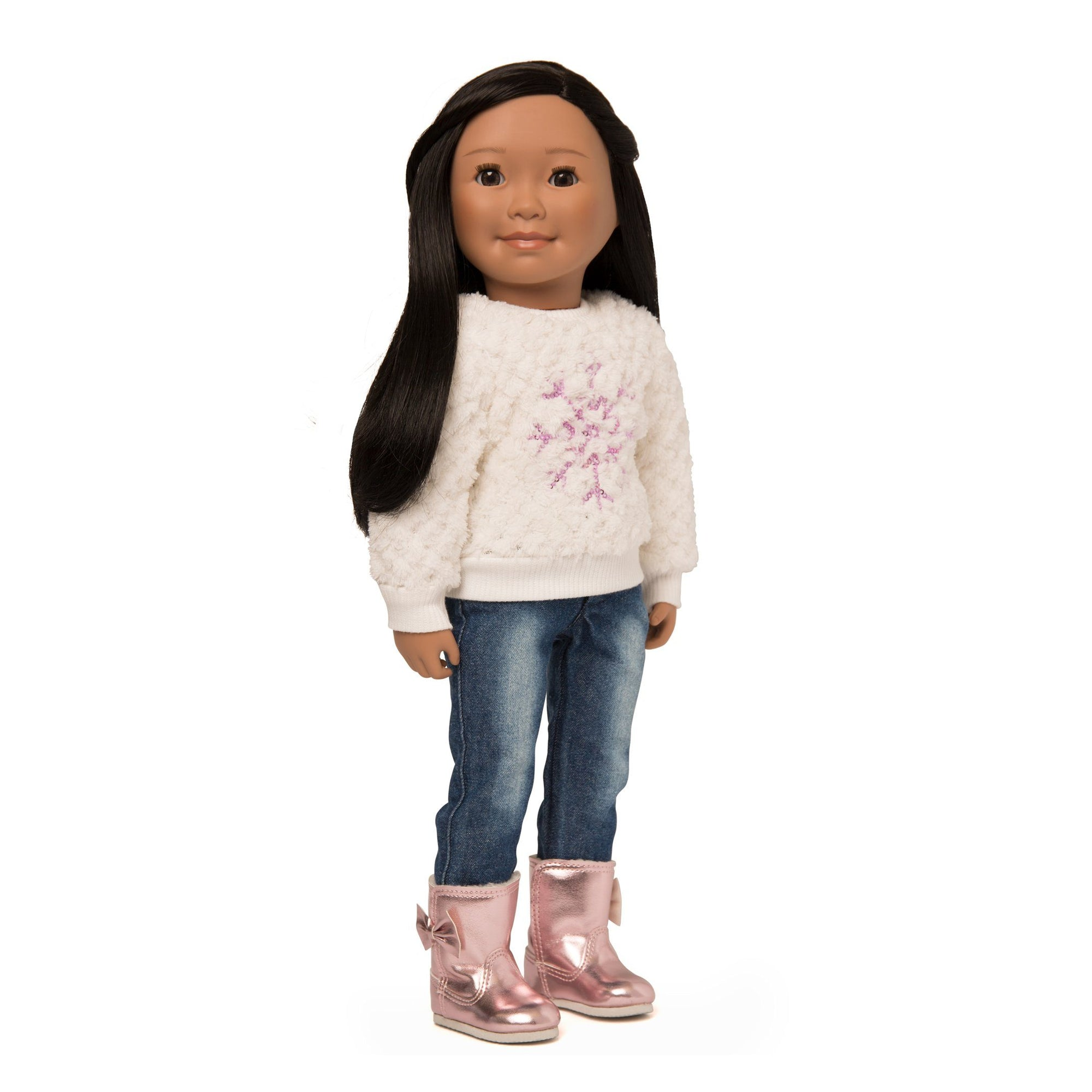 White fuzzy sweater with pink snowflake, washed jeans, and shiny pink boots with bow fits all 18 inch dolls.