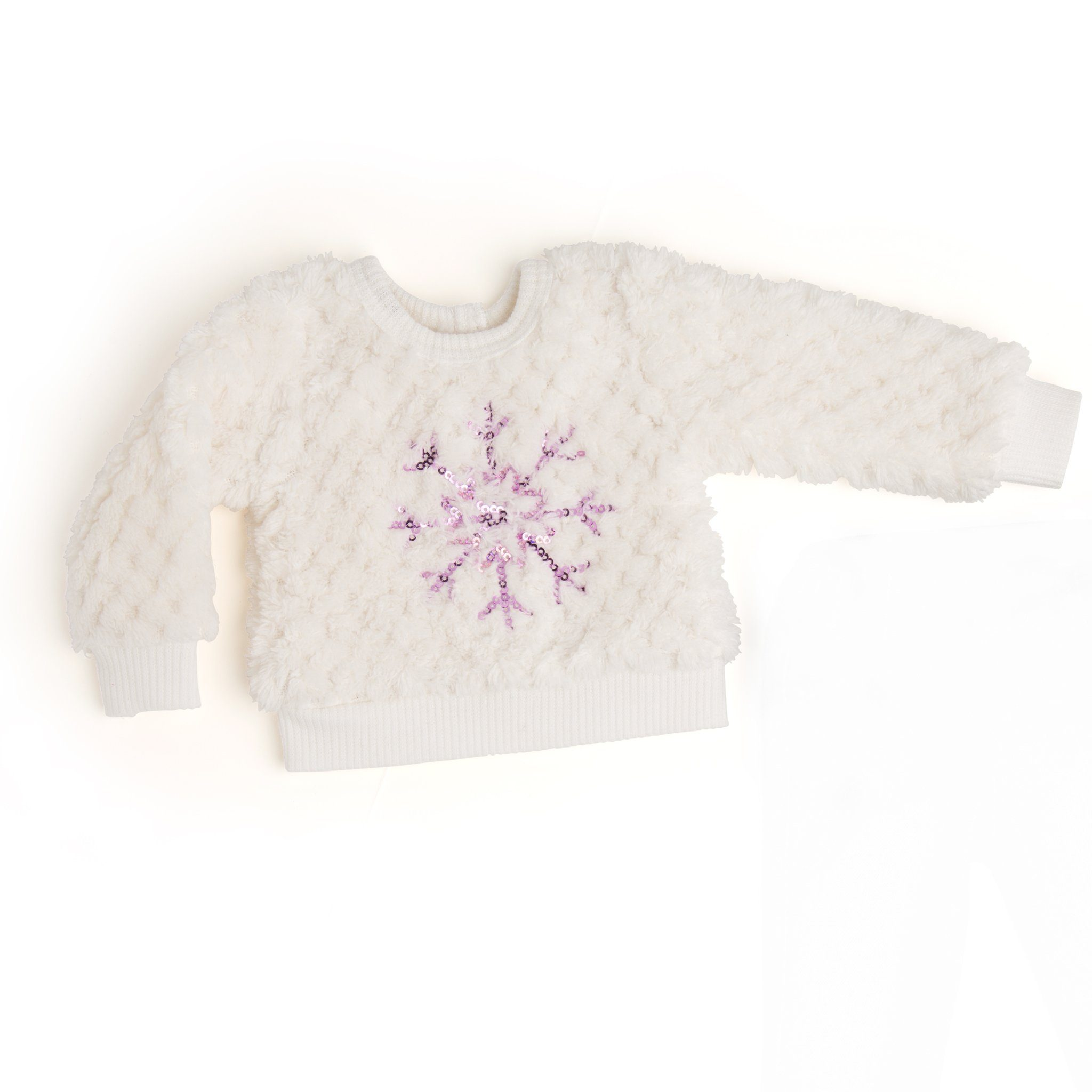 White fuzzy sweater with pink snowflake embroidery fits all 18 inch dolls.
