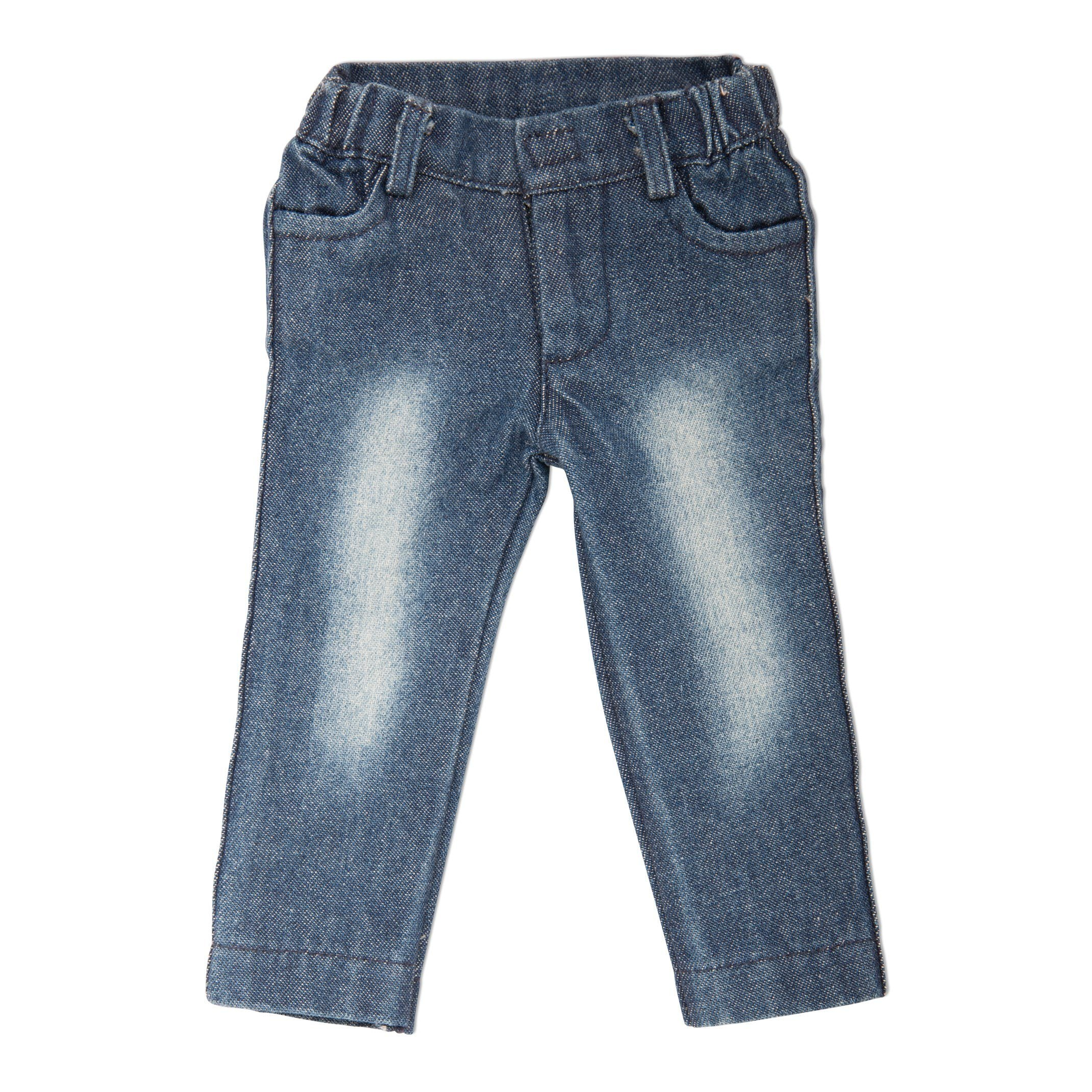 Distressed washed denim jeans fits all 18 inch dolls.