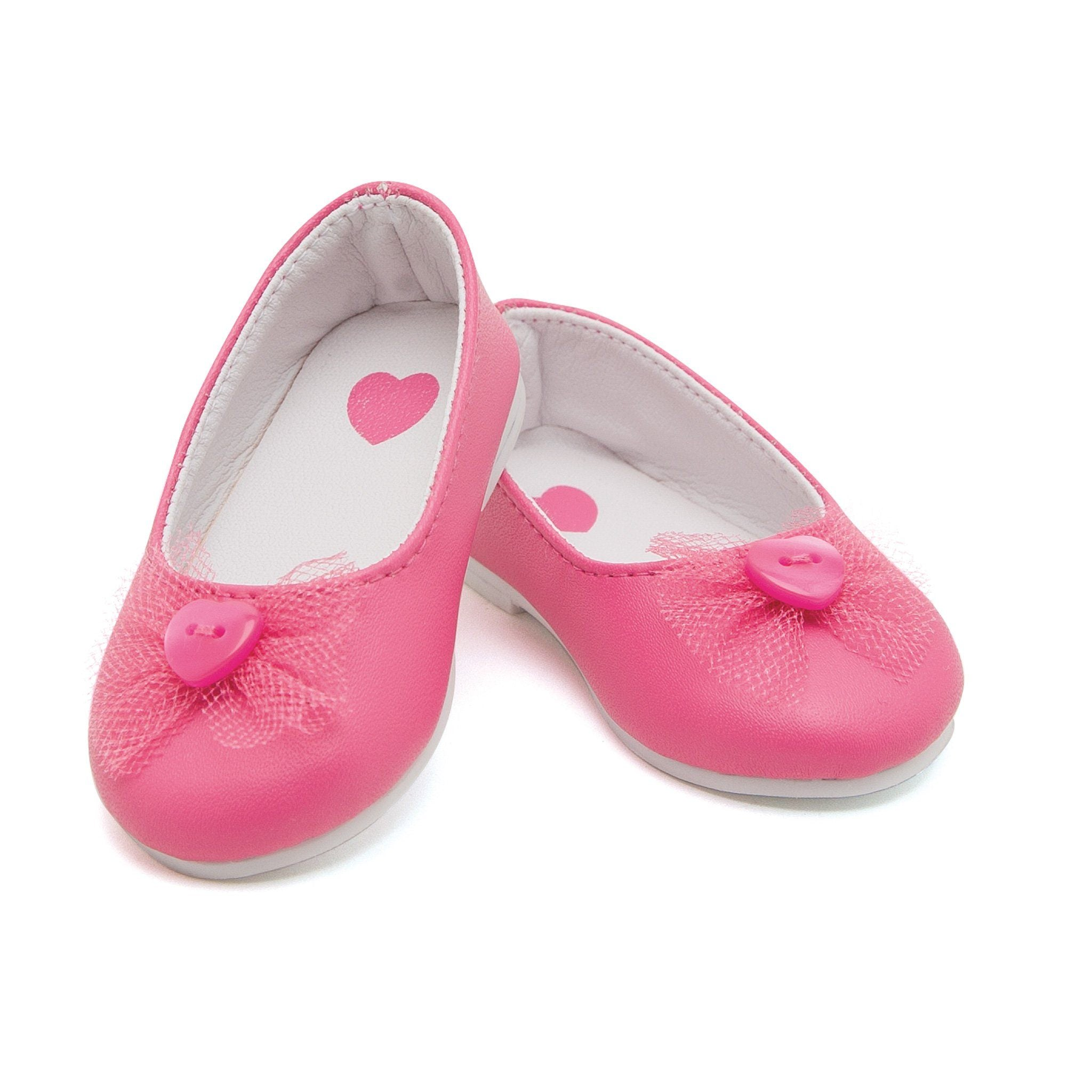 Tutu cute pink ballet flats with heart button fits all 18 inch dolls.
