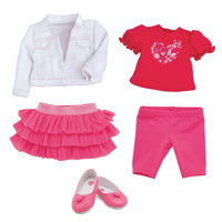 Tutu Cute red t-shirt with heart graphic, pink ruffled skirt, white jean jacket with pink stitching, pink ballet flats with heart fits all 18 inch dolls.