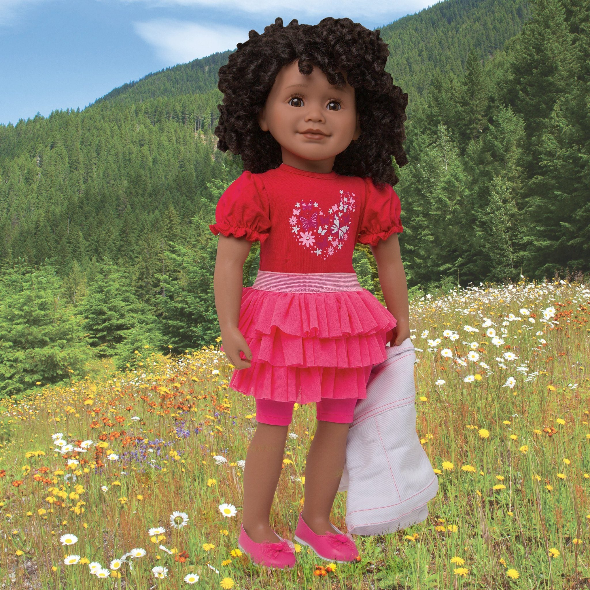 Tutu Cute red t-shirt with heart graphic, pink ruffled skirt, pink knee-length tights, white jean jacket with pink stitching, pink ballet flats with heart fits all 18 inch dolls.