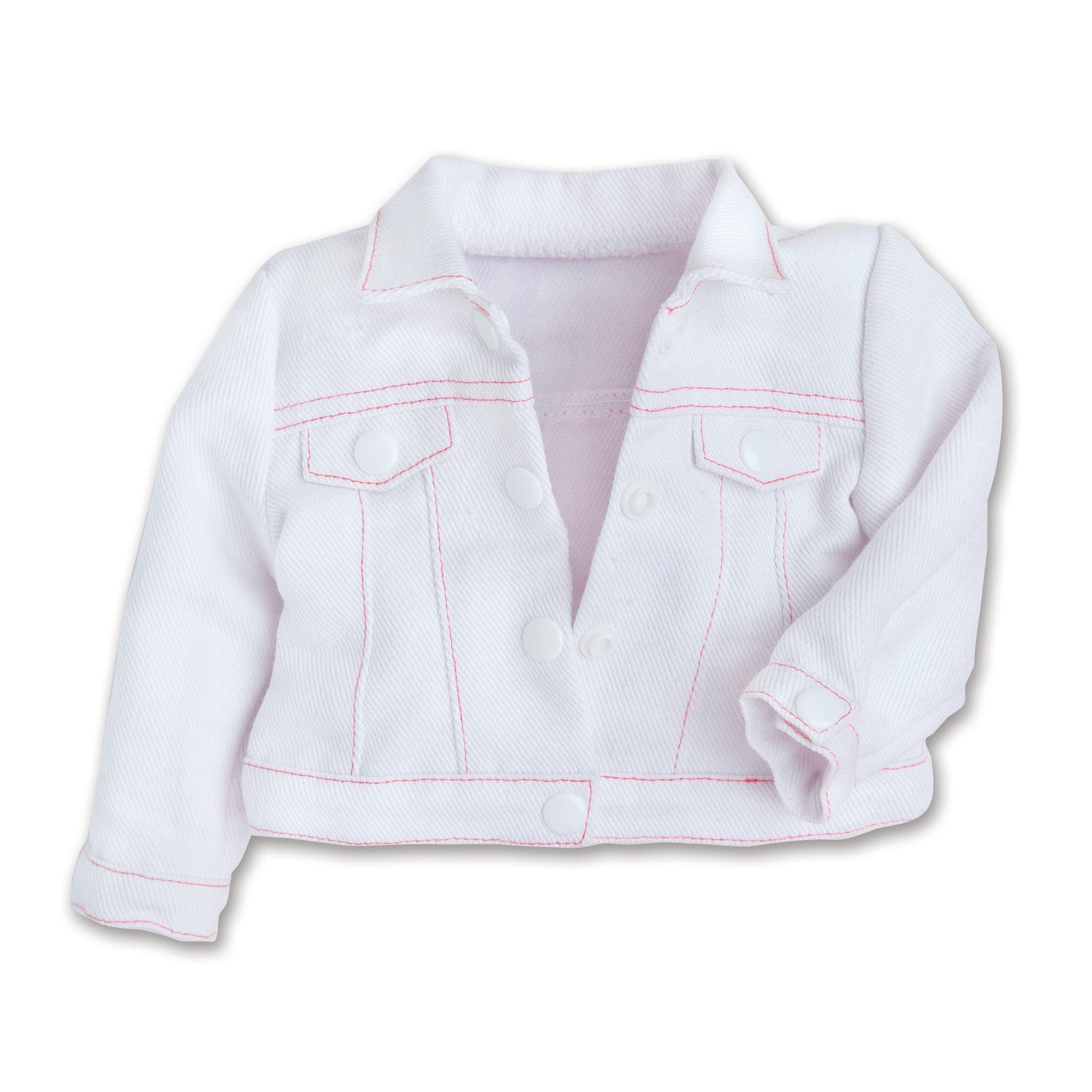 Tutu Cute white jean jacket with pink stitching fits all 18 inch dolls.