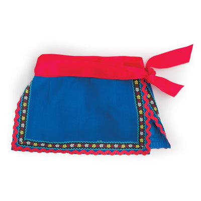 Ukrainian Dance outfit traditional blue apron with red sash belt fits all 18 inch dolls.