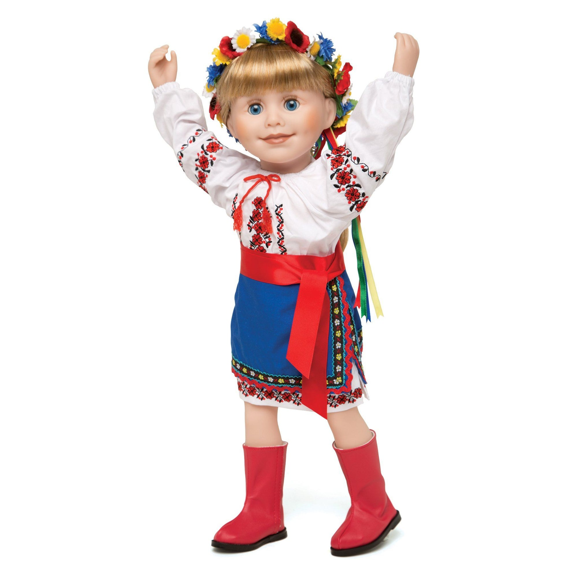 Ukrainian Dance outfit traditional embroidered blouse, underskirt, blue apron with red sash belt, floral wreath, red boots  fits all 18 inch dolls.