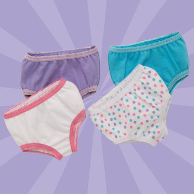 Four different pairs of undies fits all 18 inch dolls.