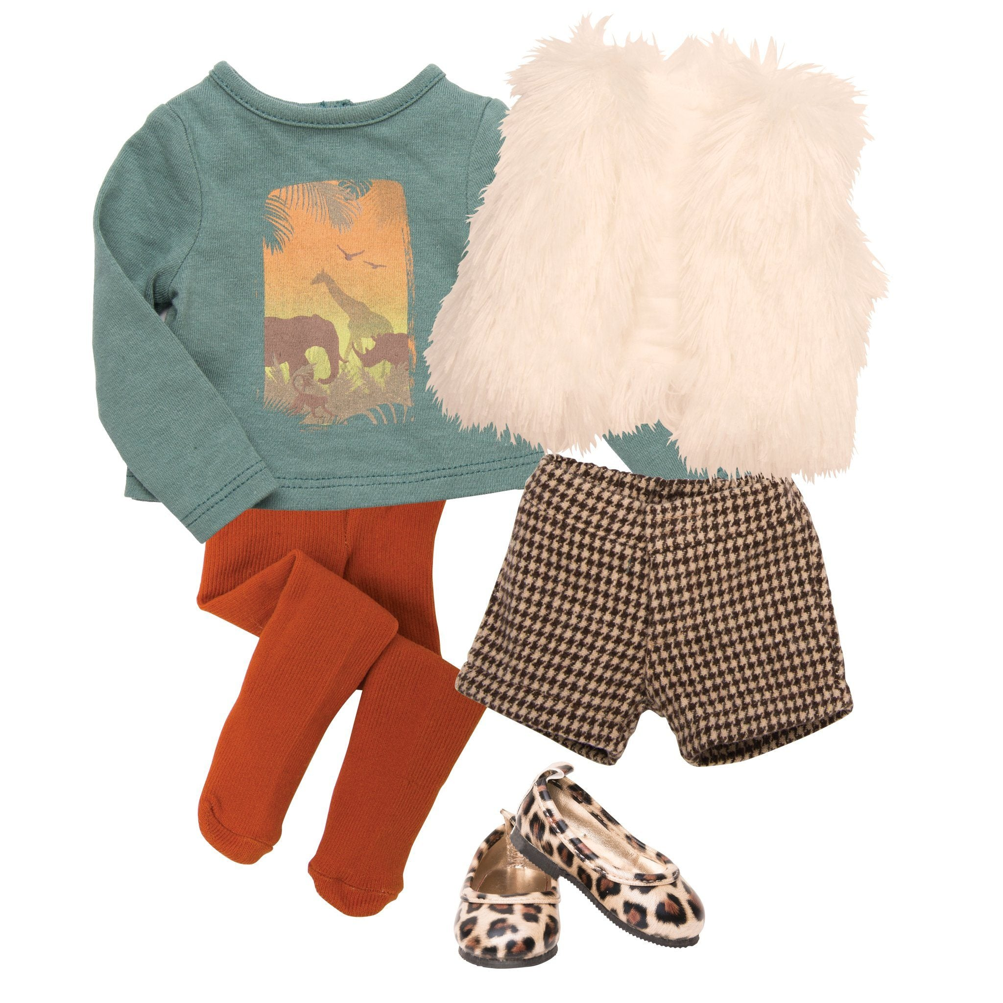 Urban Jungle white fur vest, long sleeve green shirt with jungle graphic, orange tights, brown houndstooth shorts and leopard print flats fits all 18 inch dolls.