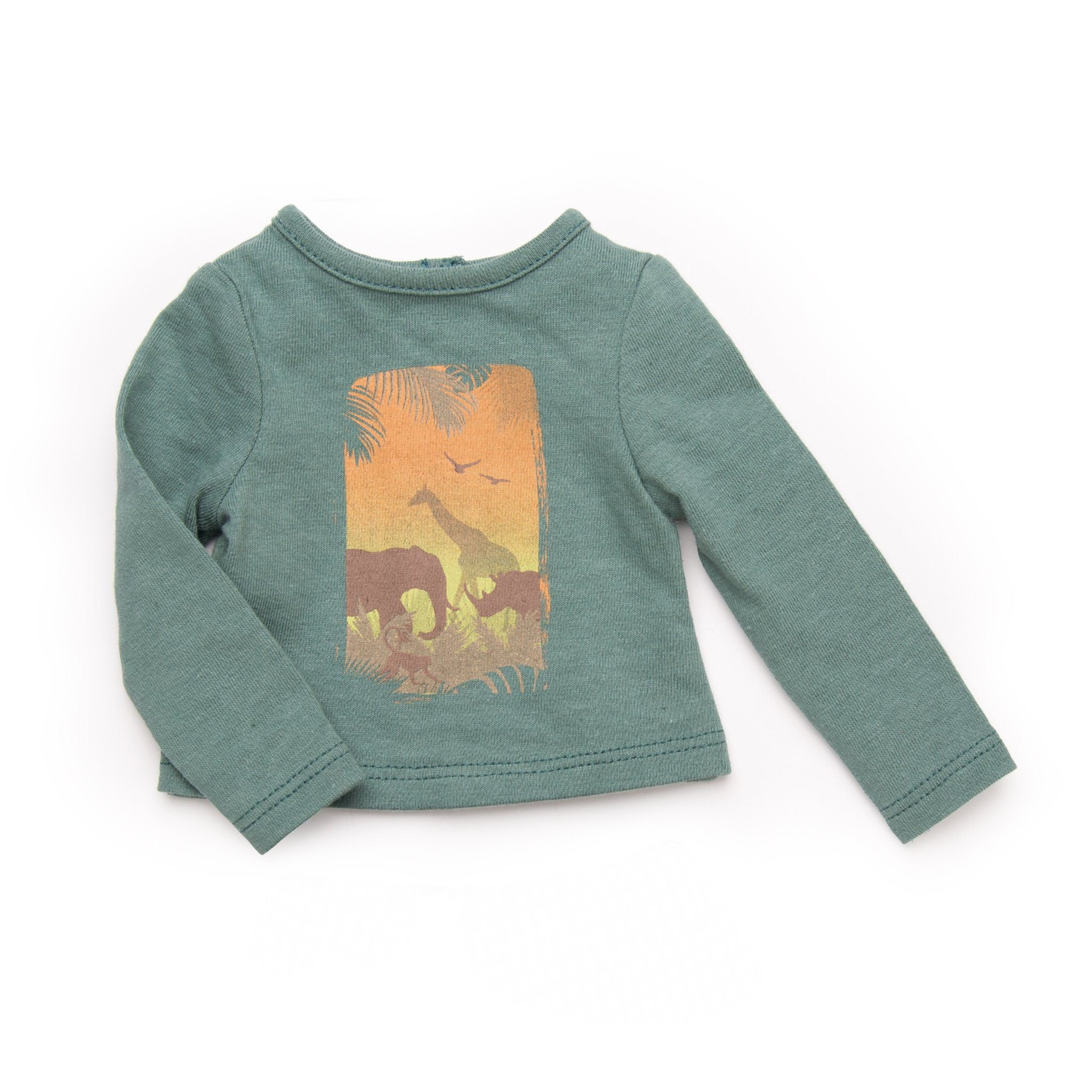Urban Jungle long sleeve green shirt with jungle graphic fits all 18 inch dolls.