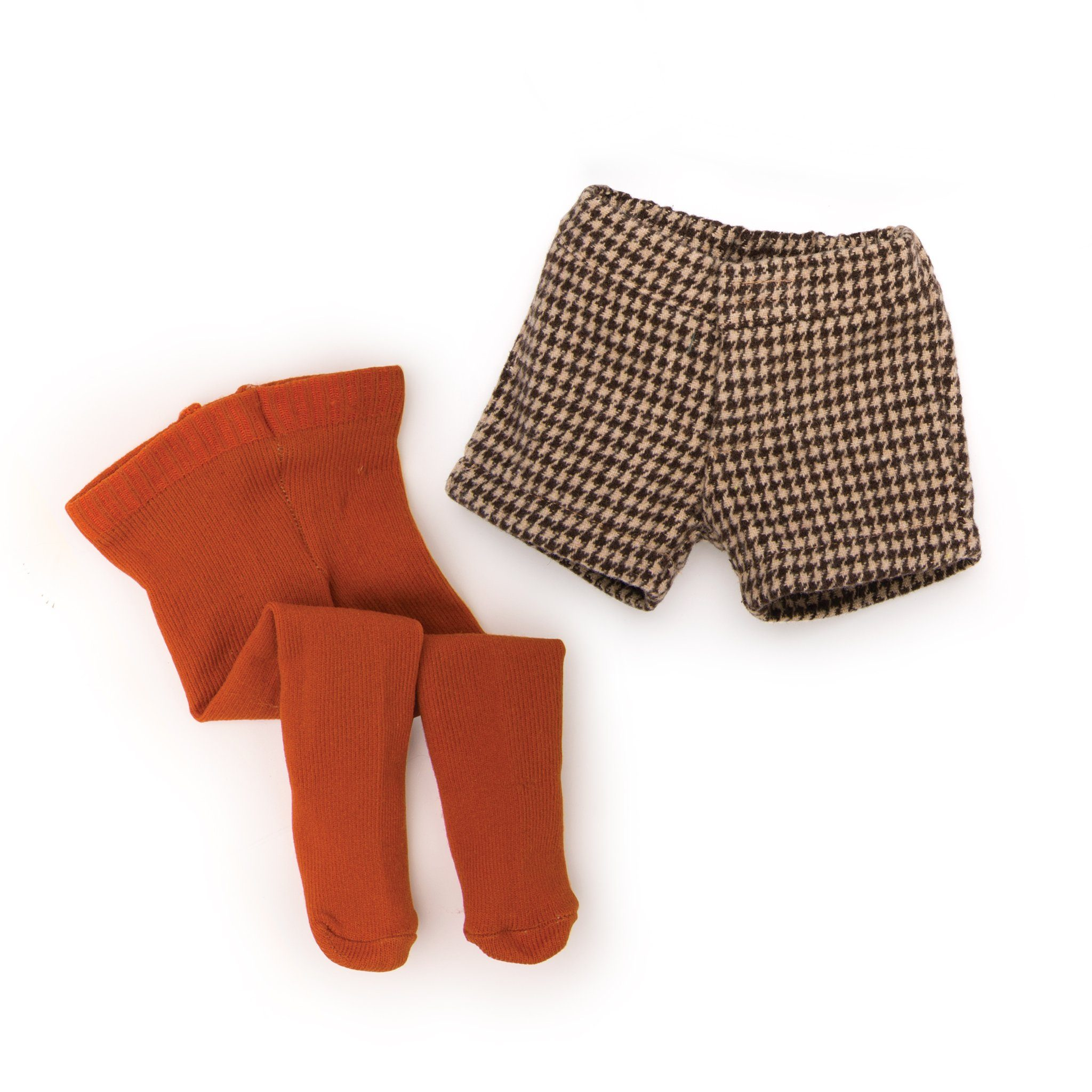 Urban Jungle orange tights, brown houndstooth shorts fit all 18 inch dolls.