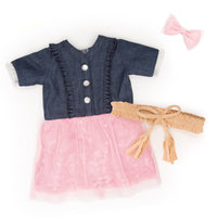 Very Prairie denim button-up and pink tulle dress, with wrap belt and pink hair bow fits all 18 inch dolls.