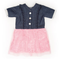 Very Prairie denim button-up and pink tulle dress fits all 18 inch dolls.